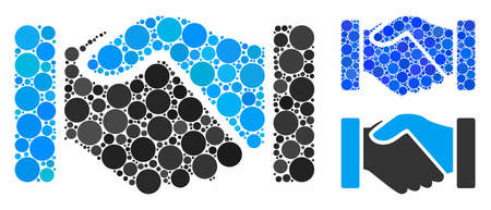 Acquisition handshake mosaic of filled circles in different sizes and color hues, based on acquisition handshake icon. Vector round elements are united into blue mosaic. Ilustração