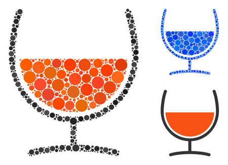 Remedy glass mosaic of small circles in variable sizes and shades, based on remedy glass icon. Vector small circles are united into blue collage. Dotted remedy glass icon in usual and blue versions. Иллюстрация