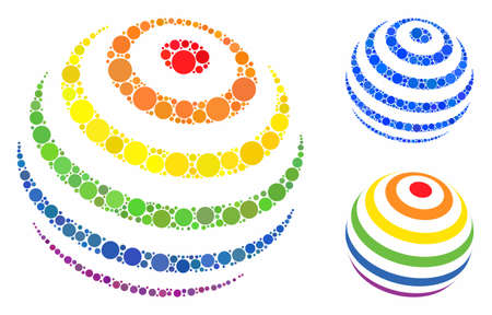 LGBT color stripes abstract sphere mosaic of small circles in various sizes and color tinges, based on LGBT color stripes abstract sphere icon. Vector small circles are organized into blue mosaic. 向量圖像
