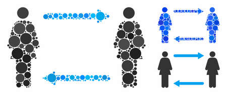 Women exchange arrows composition of small circles in various sizes and color tinges, based on women exchange arrows icon. Vector small circles are grouped into blue illustration. Çizim