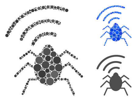 Radio bug mosaic of filled circles in different sizes and color tints, based on radio bug icon. Vector filled circles are grouped into blue illustration.
