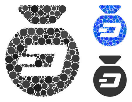 Dash money bag mosaic of round dots in different sizes and color tones, based on Dash money bag icon. Vector round dots are combined into blue mosaic.