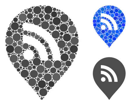 WiFi marker mosaic of filled circles in various sizes and shades, based on WiFi marker icon. Vector filled circles are united into blue mosaic. Dotted WiFi marker icon in usual and blue versions.