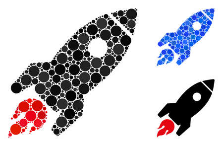 Rocket launch mosaic of circle elements in various sizes and color tinges, based on rocket launch icon. Vector circle elements are organized into blue mosaic.