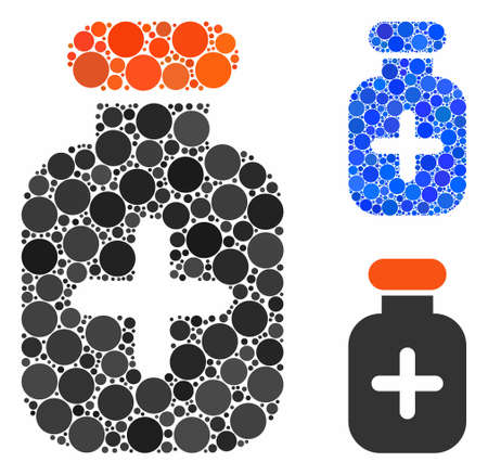Medication vial composition of small circles in different sizes and color tones, based on medication vial icon. Vector random circles are combined into blue composition.