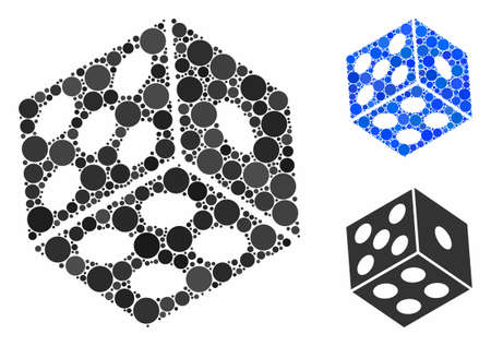 Dice composition of circle elements in different sizes and color tints, based on dice icon. Vector circle elements are organized into blue composition. Dotted dice icon in usual and blue versions.