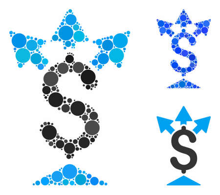 Split payment mosaic of circle elements in different sizes and color tints, based on split payment icon. Vector circle elements are combined into blue mosaic.