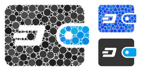 Dash pouch mosaic of circle elements in different sizes and color hues, based on Dash pouch icon. Vector small circles are combined into blue mosaic. Dotted Dash pouch icon in usual and blue versions.