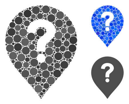 Question marker mosaic of round dots in various sizes and color tinges, based on question marker icon. Vector dots are composed into blue mosaic. Çizim