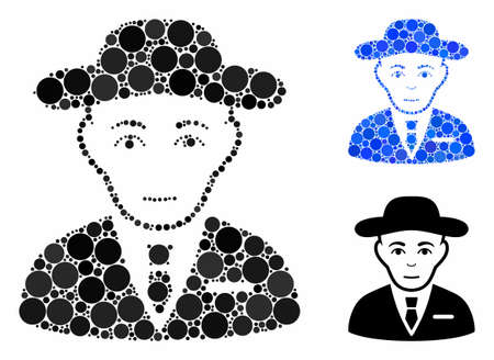 Secret service agent mosaic of small circles in variable sizes and shades, based on secret service agent icon. Vector small circles are grouped into blue mosaic. Ilustração