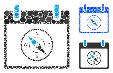 Compass calendar day mosaic of spheric dots in different sizes and color hues, based on compass calendar day icon. Vector round elements are grouped into blue mosaic.