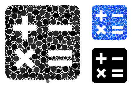 Calculation mosaic of spheric dots in variable sizes and color tinges, based on calculation icon. Vector round dots are united into blue mosaic. Dotted calculation icon in usual and blue versions.