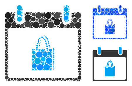 Shopping bag calendar day mosaic of circle elements in variable sizes and color hues, based on shopping bag calendar day icon. Vector round elements are united into blue mosaic. Ilustracja