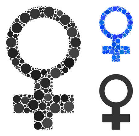 Female symbol mosaic of small circles in variable sizes and color tones, based on female symbol icon. Vector small circles are organized into blue composition. Banque d'images - 131321235