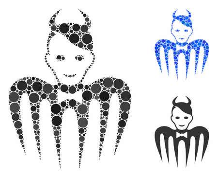 Composition du spectre du diable de cercles remplis de différentes tailles et teintes de couleur, basée sur l'icône du spectre du diable. Les cercles remplis de vecteurs sont composés en collage bleu.