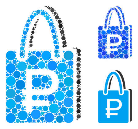 Rouble shopping composition of filled circles in variable sizes and color hues, based on rouble shopping icon. Vector filled circles are composed into blue composition.