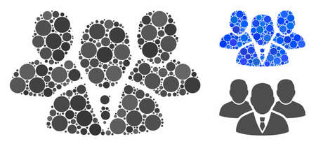 People group mosaic of round dots in various sizes and color tints, based on people group icon. Vector round dots are grouped into blue composition.