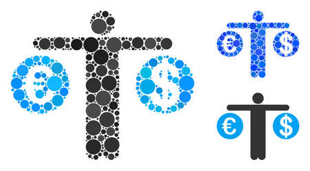 Person compare Dollar and Euro mosaic of spheric dots in various sizes and shades, based on person compare Dollar and Euro icon. Vector round dots are composed into blue mosaic.