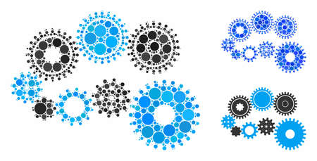 Gear mechanism mosaic of small circles in various sizes and shades, based on gear mechanism icon. Vector small circles are organized into blue composition.
