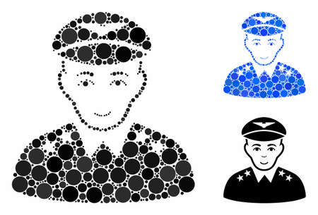 Military pilot officer mosaic of small circles in various sizes and color tints, based on military pilot officer icon. Vector small circles are organized into blue mosaic.