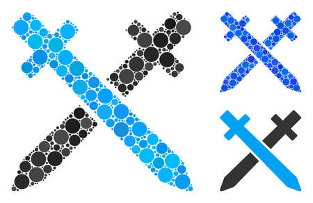 Crossing swords composition of round dots in variable sizes and shades, based on crossing swords icon. Vector dots are united into blue composition. Illusztráció