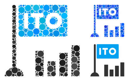 ITO bar chart mosaic of round dots in various sizes and color tones, based on ITO bar chart icon. Vector round dots are united into blue composition.
