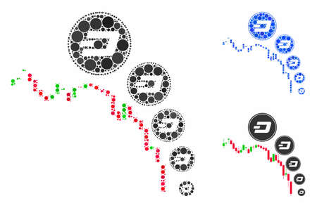 Candlestick chart Dashcoin deflation mosaic of small circles in various sizes and color tinges, based on candlestick chart Dashcoin deflation icon.