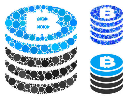 Bitcoin coin stack composition of small circles in variable sizes and color tints, based on Bitcoin coin stack icon. Vector small circles are composed into blue illustration. Фото со стока - 131321415