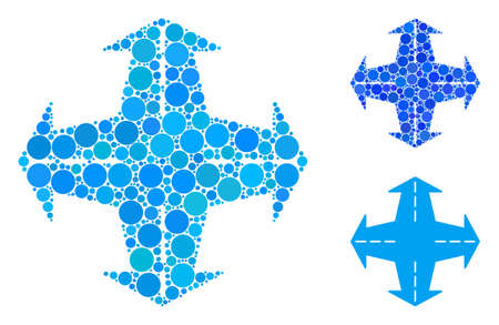 Intersection directions composition of small circles in different sizes and color tinges, based on intersection directions icon. Vector random circles are grouped into blue illustration. Ilustrace