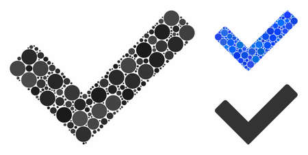 OK mosaic of circle elements in different sizes and color tints, based on OK icon. Vector circle elements are organized into blue mosaic. Dotted OK icon in usual and blue versions.
