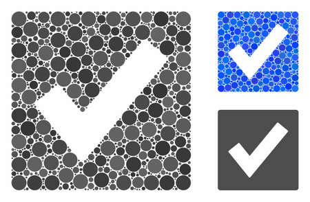 Valid mosaic of filled circles in different sizes and color tinges, based on valid icon. Vector filled circles are composed into blue collage. Dotted valid icon in usual and blue versions. Stock Illustratie