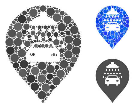 Car shower marker mosaic of circle elements in variable sizes and color tones, based on car shower marker icon. Vector circle elements are organized into blue collage.