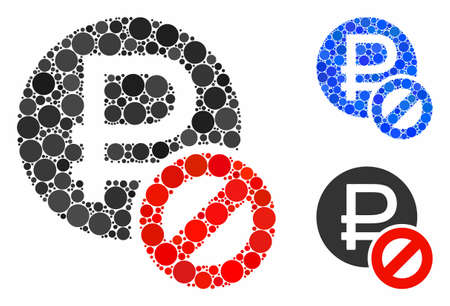 Forbidden rouble composition of filled circles in various sizes and color tints, based on forbidden rouble icon. Vector filled circles are combined into blue collage.