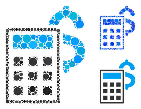 Business calculator composition of small circles in variable sizes and color hues, based on business calculator icon. Vector small circles are organized into blue composition.
