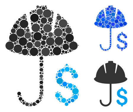 Development financial coverage mosaic of round dots in variable sizes and shades, based on development financial coverage icon. Vector round dots are combined into blue composition. Çizim