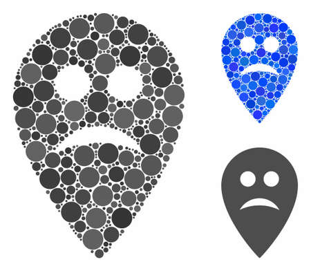 Sad map marker mosaic of small circles in different sizes and color tinges, based on sad map marker icon. Vector small circles are combined into blue illustration.