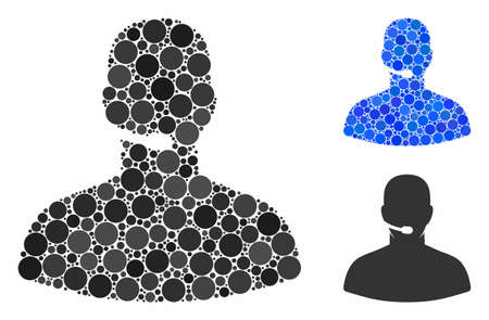 Call center operator composition of round dots in various sizes and color hues, based on call center operator icon. Vector round elements are combined into blue composition.
