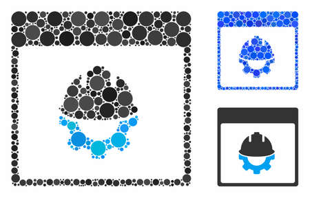 Development calendar page mosaic of round dots in different sizes and color hues, based on development calendar page icon. Vector round dots are composed into blue mosaic.