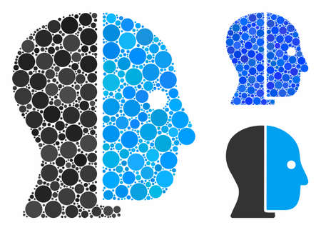 Hidden profile composition of filled circles in variable sizes and color tinges, based on hidden profile icon. Vector filled circles are organized into blue illustration.