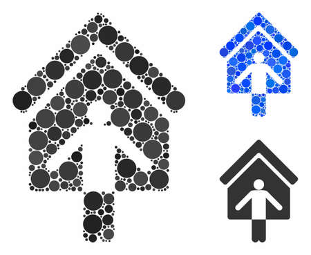 House owner wellcome mosaic of small circles in various sizes and shades, based on house owner wellcome icon. Vector small circles are combined into blue mosaic.