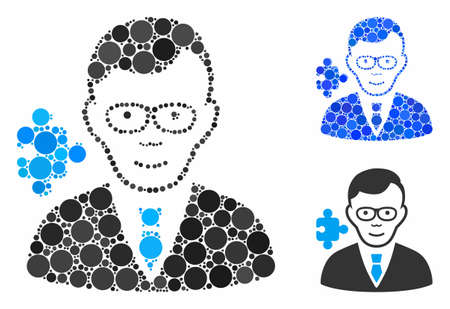 Specialist composition of round dots in variable sizes and color tinges, based on specialist icon. Vector round dots are organized into blue collage. Dotted specialist icon in usual and blue versions.  イラスト・ベクター素材