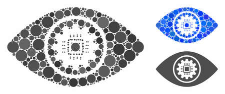 Cyber eye lens mosaic of spheric dots in various sizes and color hues, based on cyber eye lens icon. Vector dots are combined into blue mosaic. Dotted cyber eye lens icon in usual and blue versions. Иллюстрация