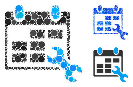 Configure timetable composition of small circles in different sizes and shades, based on configure timetable icon. Vector small circles are united into blue mosaic. Ilustracja