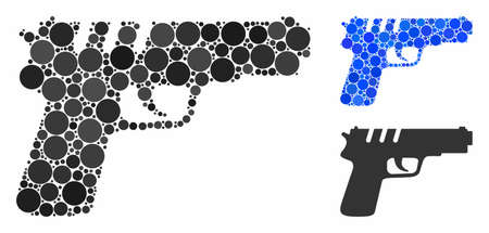 Pistol gun mosaic of small circles in various sizes and color tints, based on pistol gun icon. Vector random circles are grouped into blue illustration.