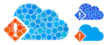 Error composition of spheric dots in different sizes and shades, based on error icon. Vector filled circles are organized into blue composition. Dotted error icon in usual and blue versions.