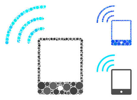 Smartphone wifi signal mosaic of filled circles in variable sizes and color tints, based on smartphone wifi signal icon. Vector filled circles are organized into blue illustration.