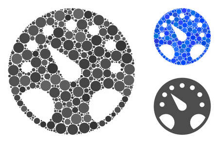 Gauge composition of filled circles in various sizes and shades, based on gauge icon. Vector filled circles are combined into blue collage. Dotted gauge icon in usual and blue versions. Stock Illustratie