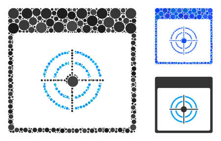 Bullseye calendar page mosaic of small circles in various sizes and color tones, based on bullseye calendar page icon. Vector filled circles are composed into blue mosaic. Ilustracja