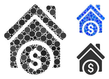 Home price mosaic of circle elements in various sizes and color tinges, based on home price icon. Vector circle elements are united into blue composition. Иллюстрация
