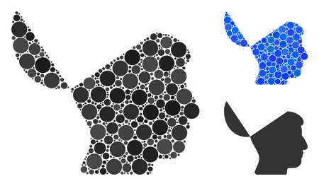 Open mind composition of round dots in variable sizes and color tints, based on open mind icon. Vector round dots are united into blue collage. Dotted open mind icon in usual and blue versions.